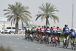 The peloton in action during Stage 3 The Silicon Oasis Stage of the Dubai Tour 2018 the Dubai Tour&rsquo;s 5th edition, running 180km from Skydive Dubai to Fujairah, Dubai, United Arab Emirates. 7th February 2018.<br /> Picture: LaPresse/Fabio Ferrari | Cyclefile<br /> <br /> <br /> All photos usage must carry mandatory copyright credit (&copy; Cyclefile | LaPresse/Fabio Ferrari)