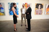 SANTA MONICA - JUN 25: Mallory Jansen, Simon Phan, Trevor Victor Harvey at the David Bromley LA Women Art Exhibition opening reception at the Andrew Weiss Gallery on June 25, 2016 in Santa Monica, California