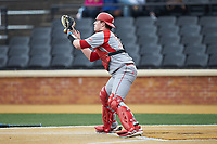 Sacred Heart Pioneers catcher Trevor Fagan (35) waits for a throw at home plate during the game against the Wake Forest Demon Deacons at David F. Couch Ballpark on February 15, 2019 in  Winston-Salem, North Carolina.  The Demon Deacons defeated the Pioneers 14-1. (Brian Westerholt/Four Seam Images)