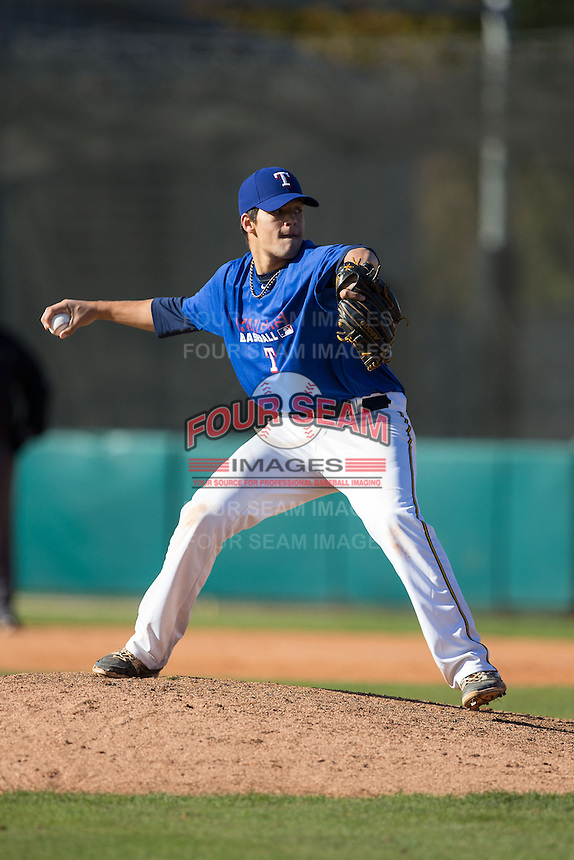 Kyle Hinton (19) of Salesianum High School in Wilmington, Delaware playing for the Texas Rangers scout team at the South Atlantic Border Battle at Doak Field on November 2, 2014.  (Brian Westerholt/Four Seam Images)