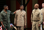 """Rob Demery, Blair Underwood, David Alan Grier and Jerry O'Connell During the Broadway Opening Night Curtain Call Bows for The Roundabout Theatre Company's """"A Soldier's Play""""  at the American Airlines Theatre on January 21, 2020 in New York City."""