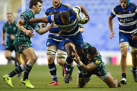 Aled Brew of Bath Rugby takes on the London Irish defence. Aviva Premiership match, between London Irish and Bath Rugby on November 19, 2017 at the Madejski Stadium in Reading, England. Photo by: Patrick Khachfe / Onside Images