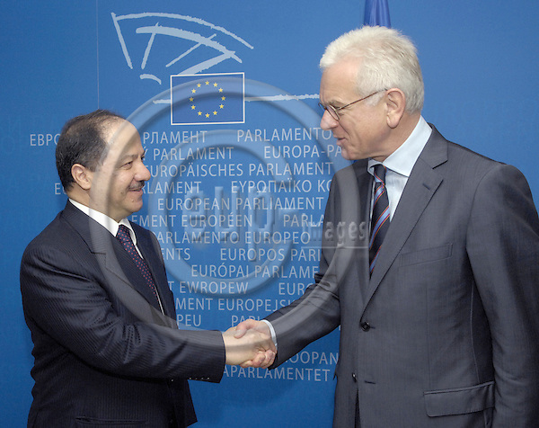 Brussels-Belgium - 08 May 2007---Hans-Gert POETTERING (Pöttering, Pottering) (ri), President of the European Parliament, receives Massoud BARZANI (le), President of the Autonomous Kurdish Government in Iraq and leader of the Kurdistan Democratic Party---Photo: Horst Wagner/eup-images