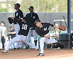 (L-R) Ivan Nova, Hiroki Kuroda, Masahiro Tanaka (Yankees),<br /> FEBRUARY 15, 2014 - MLB :<br /> Ivan Nova, Hiroki Kuroda and Masahiro Tanaka of the New York Yankees practice pitching in the bullpen during the New York Yankees spring training camp in Tampa, Florida, United States. (Photo by AFLO)