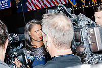 Omarosa Manigault speaks to the media early in the night as people gather in the Midtown Hilton at the election night victory rally for Republican presidential nominee Donald Trump, on Tues., Nov. 8, 2016. Trump was named president-elect in the early hours of Nov. 9, 2016.