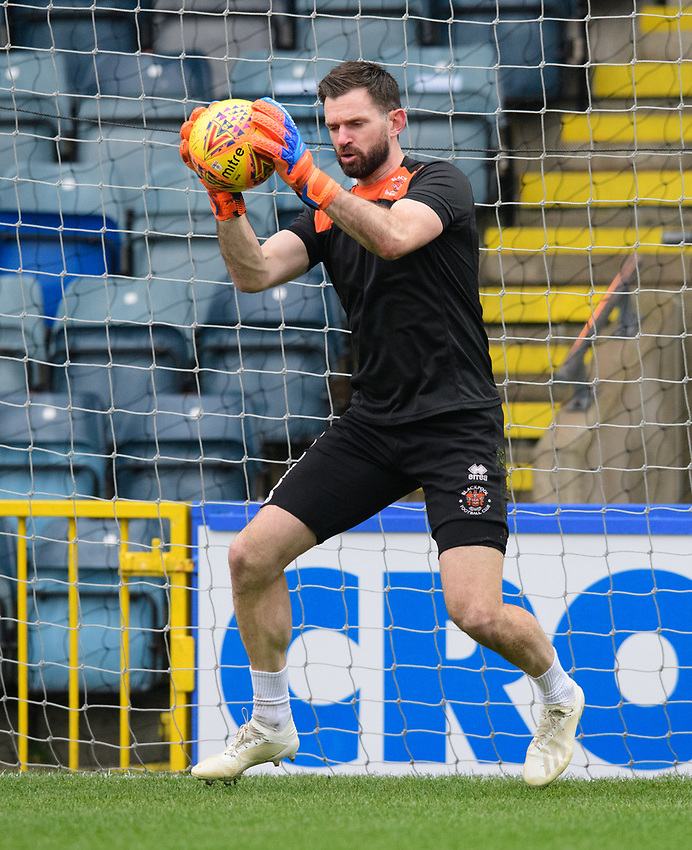 Blackpool's Mark Howard during the pre-match warm-up<br /> <br /> Photographer Chris Vaughan/CameraSport<br /> <br /> The EFL Sky Bet League One - Rochdale v Blackpool - Wednesday 26th December 2018 - Spotland Stadium - Rochdale<br /> <br /> World Copyright © 2018 CameraSport. All rights reserved. 43 Linden Ave. Countesthorpe. Leicester. England. LE8 5PG - Tel: +44 (0) 116 277 4147 - admin@camerasport.com - www.camerasport.com