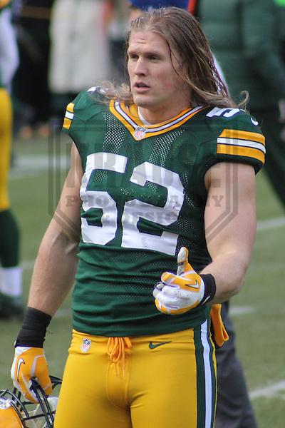 GREEN BAY - December 2012: Clay Matthews (52)  of the Green Bay Packers prior to a game against the Tennessee Titans  on December 23, 2012 at Lambeau Field in Green Bay, Wisconsin. Green Bay defeated Tennessee 55-7. (Photo by Brad Krause).
