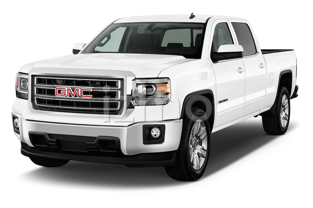 Front three quarter view of a 2014 GMC Sierra 1500 SLE Crew Cab