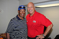 """Hall of Fame Cubs legend Ernie Banks, aka """"Mr. Cub"""", with fellow Hall member Cal Ripken Jr. before the Under Armour All-American Game at Wrigley Field on August 13, 2011 in Chicago, Illinois.  (Mike Janes/Four Seam Images)"""