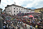 The start of Stage 15 of the 2018 Giro d'Italia, running 156km from Tolmezzo to Sappada, Italy. 20th May 2018.<br /> Picture: LaPresse/Massimo Paolone | Cyclefile<br /> <br /> <br /> All photos usage must carry mandatory copyright credit (&copy; Cyclefile | LaPresse/Massimo Paolone)