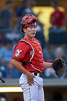 Billings Mustangs catcher Eric Yang (25) during a Pioneer League game against the Grand Junction Rockies at Dehler Park on August 14, 2019 in Billings, Montana. Grand Junction defeated Billings 8-5. (Zachary Lucy/Four Seam Images)