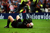 Gillingham goalkeeper, Vince Bartram, falls to the ground and holds his head after losing the penalty shoot-out during Manchester City vs Gillingham, Nationwide League Division Two Football at Wembley Stadium on 30th May 1999