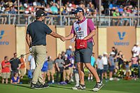 Ryan Moore (USA) shakes hands with his caddie on the green on 18 following day 4 of the Valero Texas Open, at the TPC San Antonio Oaks Course, San Antonio, Texas, USA. 4/7/2019.<br /> Picture: Golffile | Ken Murray<br /> <br /> <br /> All photo usage must carry mandatory copyright credit (© Golffile | Ken Murray)