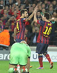06.11.2013 Barcelona, Spain. Uefa Champions League Matchday 4 group H. Picture show Cesc Fabregas (L) and  Leo Messi (R) in action during game between FC Barcelona against AC Milan at Camp Nou