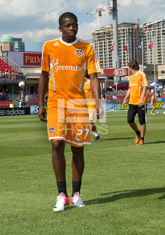 July 28, 2012: Houston Dynamo midfielder Boniek Garcia #27 in action during the warm-up in a game between Toronto FC and the Houston Dynamo at BMO Field in Toronto, Ontario Canada..The Houston Dynamo won 2-0.