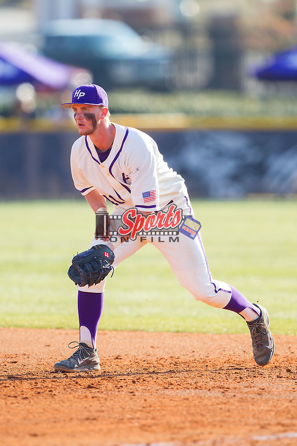 High Point Panthers first baseman Spencer Angelis (11) on defense against the Bowling Green Falcons at Willard Stadium on March 9, 2014 in High Point, North Carolina.  The Falcons defeated the Panthers 7-4.  (Brian Westerholt/Sports On Film)