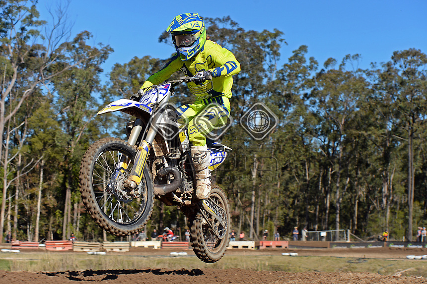 Bailey Behagg / Husqvarna<br /> MX Nationals / Round 6 / MXD<br /> Australian Motocross Championships<br /> Raymond Terrace NSW<br /> Sunday 5 July 2015<br /> &copy; Sport the library / Jeff Crow