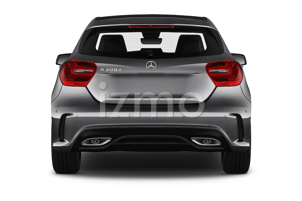 Straight rear view of 2016 Mercedes Benz A-Class Fascination 5 Door Hatchback Rear View  stock images