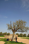 Israel, the northern Negev. Cyclists at Rebuva well by Besor scenic road
