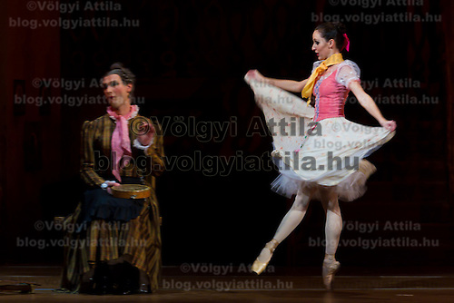 Dancers Komarov Alekszandr (left) as Simone and Adrienn Pap (right) as Lise in the dance piece La Fille Mal Gardee or The Wayward Daughter Choreographed by Sir Frederick Ashton presented by the Hungarian National Ballet Company in Hungary State Opera House,  Budapest, Hungary, Tuesday, 23. November 2010. ATTILA VOLGYI