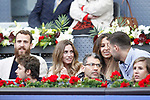 Philadelphia 76's Sergio El Chacho Rodriguez and his wife Ana Bernal (l) and Real Madrid's Felipe Reyes and his wife Kirenia Cabrera during Madrid Open Tennis 2017 match. May 12, 2017.(ALTERPHOTOS/Acero)