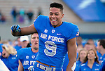 November 7, 2015 - Colorado Springs, Colorado, U.S. - Air Force wide receiver, Jason Robinette #9, celebrates a Falcon victory following the NCAA Football game between the Army Black Knights and the Air Force Academy Falcons at Falcon Stadium, U.S. Air Force Academy, Colorado Springs, Colorado.  Air Force defeats Army 20-3.