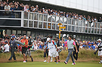 20.07.2014. Hoylake, England.  Rory McIlroy of Northern Ireland walks onto the 18th hole during the final round of the 143rd British Open Championship at Royal Liverpool Golf Club in Hoylake, England.