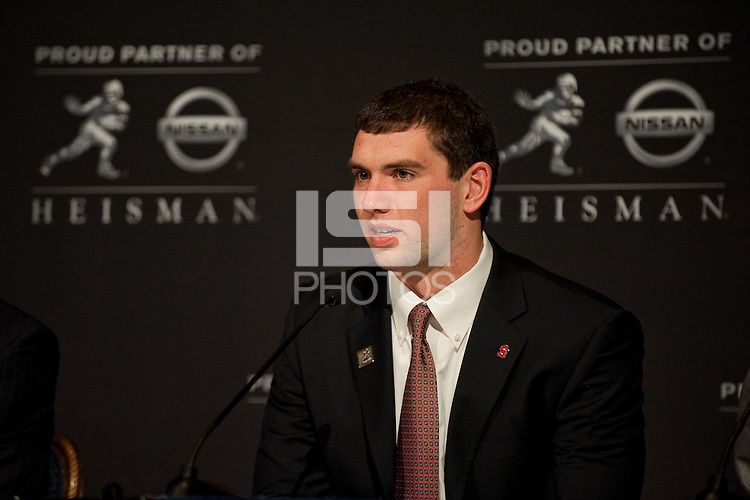 NEW YORK, NY--Stanford quarterback and Heisman candidate Andrew Luck speaks to the media at the Marriott Marquis Hotel before the awards ceremony held at The Best Buy Theater in Times Square.