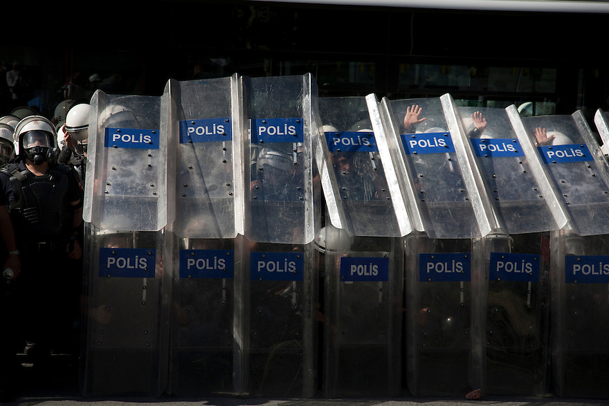ISTANBUL, TURKEY-- Police line on Saturday, June 1, 2013, in front of the Tarlabasi police station, not far from Gezi Park, where protesters and police have clashed over recent days. PHOTO BY JODI HILTON