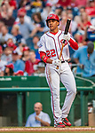 21 May 2018: Washington Nationals outfielder Juan Soto, making his first Major League start, steps up to the plate against the San Diego Padres at Nationals Park in Washington, DC. The 19 year-old Soto then connected for his first career MLB hit: a 3-run home run on the first pitch he faced as the Nationals defeated the Padres 10-2, taking the first game of their 3-game series. Mandatory Credit: Ed Wolfstein Photo *** RAW (NEF) Image File Available ***