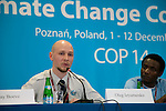Oleg Izyumenko speaks at a joint press conference for the International Youth Delegates, organized by 350.org. UNFCCC COP 14 (©Robert vanWaarden ALL RIGHTS RESERVED)