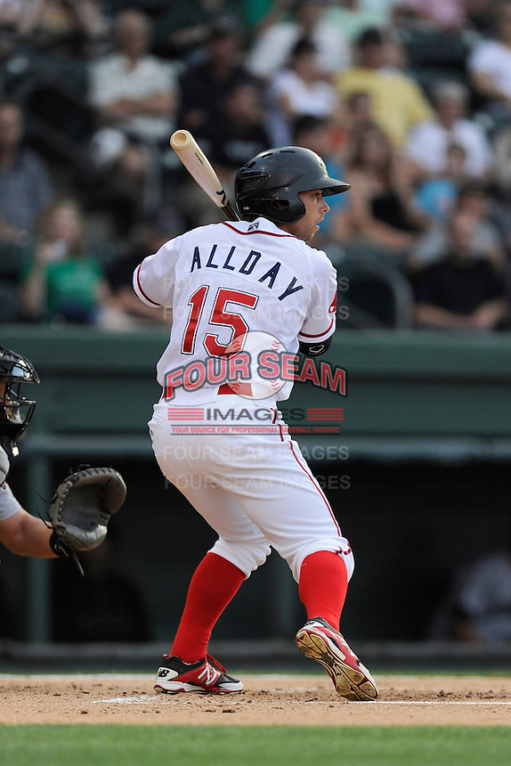 Right fielder Forrestt Allday (15) of the Greenville Drive in a game against the Augusta GreenJackets on Thursday, May 22, 2014, at Fluor Field at the West End in Greenville, South Carolina. Greenville won, 7-2. (Tom Priddy/Four Seam Images)