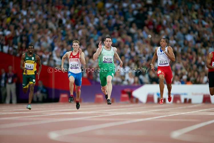 Ireland's jason Smith sets a new world record and takes the gold in the men's T13 200m final at the London Paralympic Games - Athletics 7.9.12