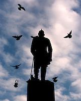 Pigeons swarm Admiral Farragut's statue in D.C.