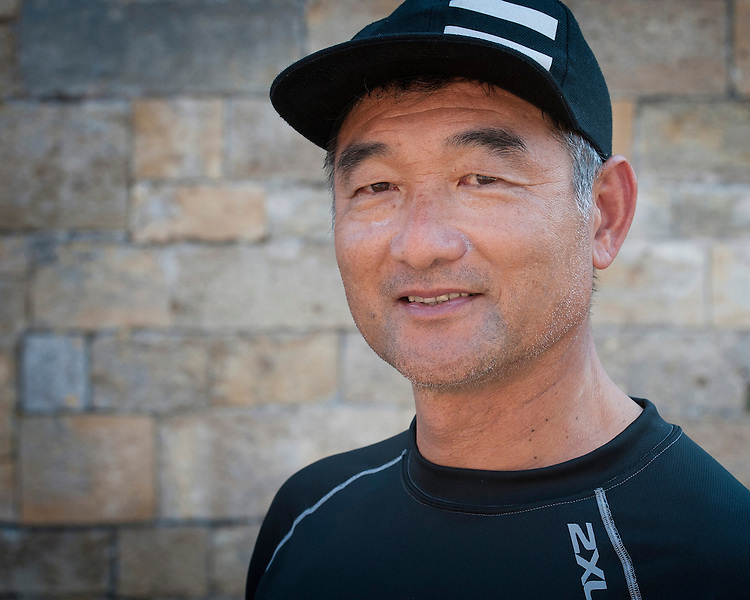 """Kazuhiro """"Fuku"""" Sofuku, General Manager & bowman outside Southsea castle, parts of which date back to the 16th century, during the Louis Vuitton America's Cup World Series in Portsmouth, England on Friday 22 July 2016 (Photo by Rob Munro/Stewart Communications)"""
