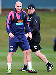 Newcastle United's manager Rafael Benitez, right, and captain Jonjo Shelvey, left, during the training session at Darsley Park Training complex. Photo credit should read: Scott Heppell/Sportimage