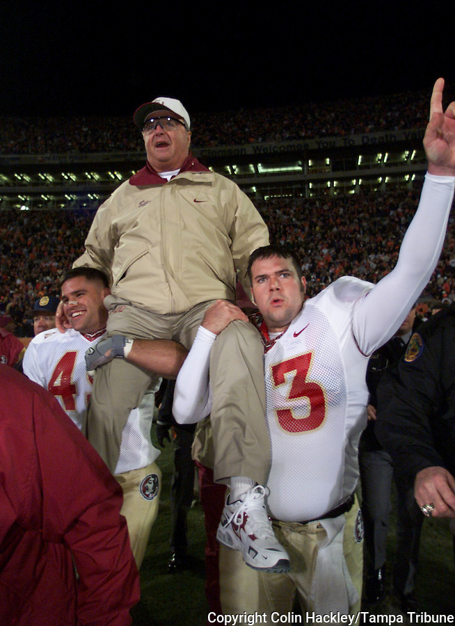 CLEMSON, S.C. 10/23/99-FSU Coach Bobby Bowden is carried onto the field after collecting his 300th win with the victory against Clemson, Saturday at Frank Howard Field in Clemson, S.C. COLIN HACKLEY PHOTO
