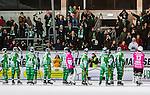 Stockholm 2013-12-30 Bandy Elitserien Hammarby IF - Broberg S&ouml;derhamn IF :  <br /> Hammarby spelare jublar tillsammans med glada Hammarby supportrar efter matchen <br /> (Foto: Kenta J&ouml;nsson) Nyckelord:  jubel gl&auml;dje lycka glad happy supporter fans publik supporters