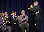 Barbra Streisand receives the National Medal of Arts from U.S. President Bill Clinton on Wednesday, December 20, 2000 at DAR Constitution Hall in Washington, D.C.  Also in the photo, left to right, Benny Carter, Mikhail Baryshnikov and Eddy Arnold..Credit: Ron Sachs / CNP