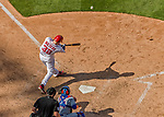 30 April 2017: Washington Nationals catcher Matt Wieters hits hits a 3-RBI homer in the 7th inning against the New York Mets at Nationals Park in Washington, DC. The Nationals defeated the Mets 23-5, with the Nationals setting several individual and team records, in the third game of their weekend series. Mandatory Credit: Ed Wolfstein Photo *** RAW (NEF) Image File Available ***