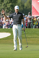 Rory Mcilroy (NIR) made birdie on the 15th hole during second round at the Omega European Masters, Golf Club Crans-sur-Sierre, Crans-Montana, Valais, Switzerland. 30/08/19.<br /> Picture Stefano DiMaria / Golffile.ie<br /> <br /> All photo usage must carry mandatory copyright credit (© Golffile | Stefano DiMaria)