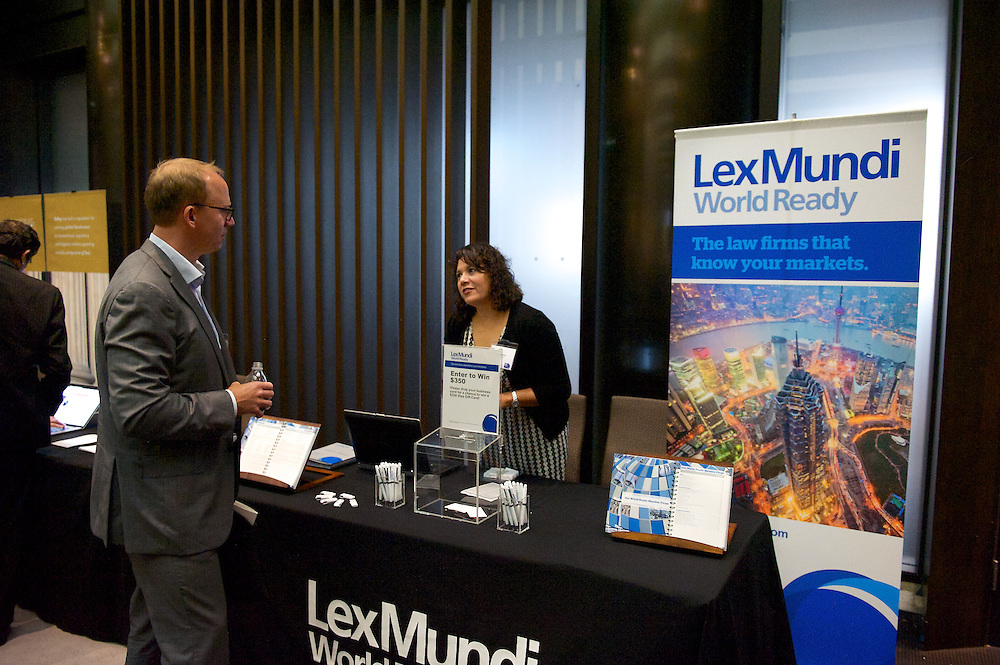 Lex Mundi booth at an attorney conference.