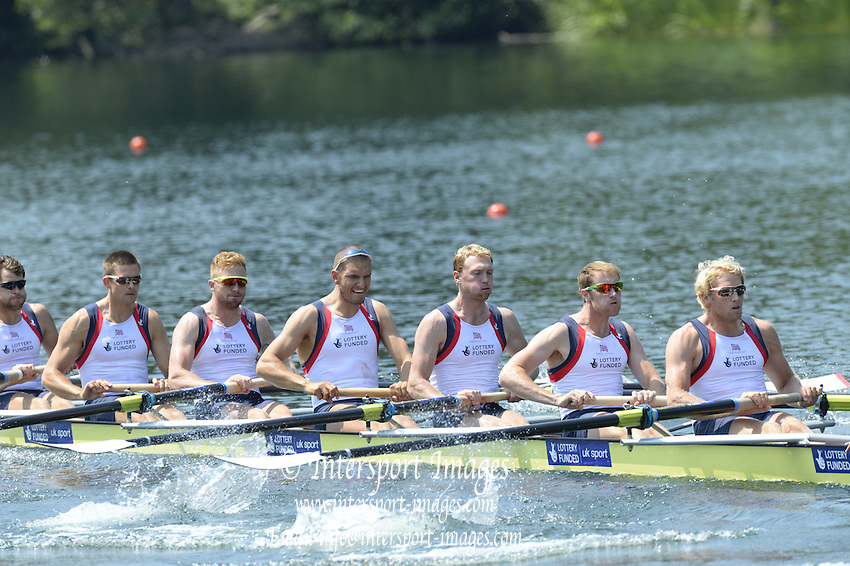 Lucerne. Switzerland. GBR1 M8+. Bow. Tom RANSLEY, Dan RICHIE, Peter REED, Will SATCH, Mo SBIHI, Alex GREGORY George NASH, Andy TRIGGS HODGE and cox,  Phelan HILL, move away from the start pontoon in their heat of the  men's eights FISA WC III. 13:48:27  Friday  12/07/2013  [Mandatory Credit, Peter Spurrier/ Intersport Images] Lake Rotsee,