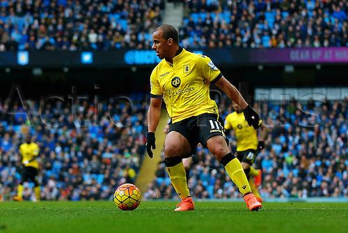 05.03.2016. The Etihad, Manchester, England. Barclays Premier League. Manchester City versus Aston Villa. Gabriel Agbonlahor of Aston Villa in action