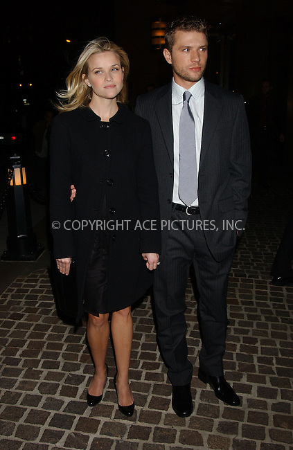 "WWW.ACEPIXS.COM . . . . . ....October 16 2006, New York City....Reese Witherspoon and Ryan Phillippe arriving at The Cinema Society & Zenith Watches screening of ""Flags of our Fathers"" at the tribeca Grand Hotel.....Please byline: KRISTIN CALLAHAN - ACEPIXS.COM.. . . . . . ..Ace Pictures, Inc:  ..(212) 243-8787 or (646) 769 0430..e-mail: info@acepixs.com..web: http://www.acepixs.com"