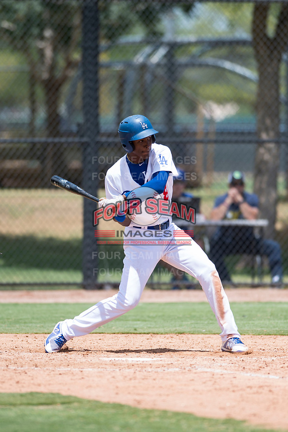 AZL Dodgers left fielder Frank Sanchez (8) swings at a pitch during an Arizona League game against the AZL Padres 2 at Camelback Ranch on July 4, 2018 in Glendale, Arizona. The AZL Dodgers defeated the AZL Padres 2 9-8. (Zachary Lucy/Four Seam Images)