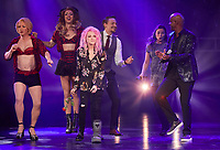 """The actors Dominik Hees (L-R) and Jeannine Wacker, singer Cyndi Lauper and the moderator Yared Dibaba stand on stage of the Operettenhaus during a press showing of the musical """"Kinky Boots"""" in Hamburg, Germany, 28. September 2017. The Germany premiere will be on the 3rd of December. Photo: Georg Wendt/dpa /MediaPunch ***FOR USA ONLY***"""