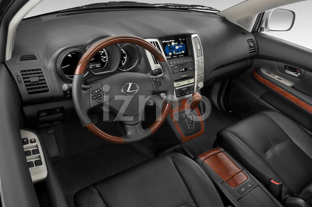 High angle dashboard view of a 2008 Lexus RX Hybrid