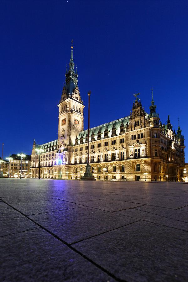 Rathausmarkt at night, Hamburg, Germany