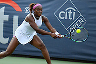 Washington, DC - August 9, 2015:  Sloane Stephens (USA) makes a backhand shot during the WTA women's singles final at Citi Open held at the William Fitzgerald tennis stadium in Washington, DC  August 9, 2015.  (Photo by Elliott Brown/Media Images International)
